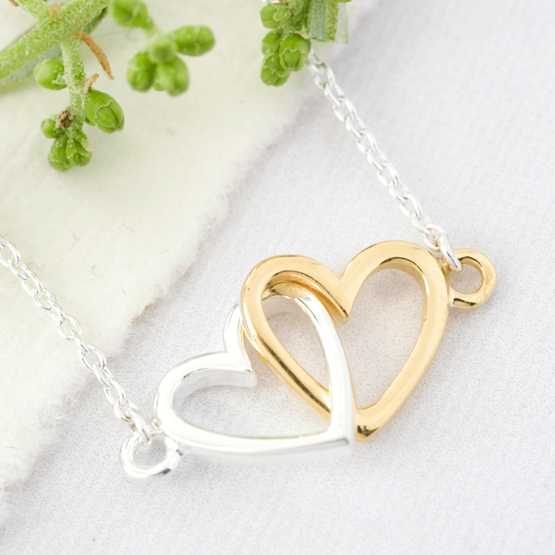 silver heart necklace interlocked