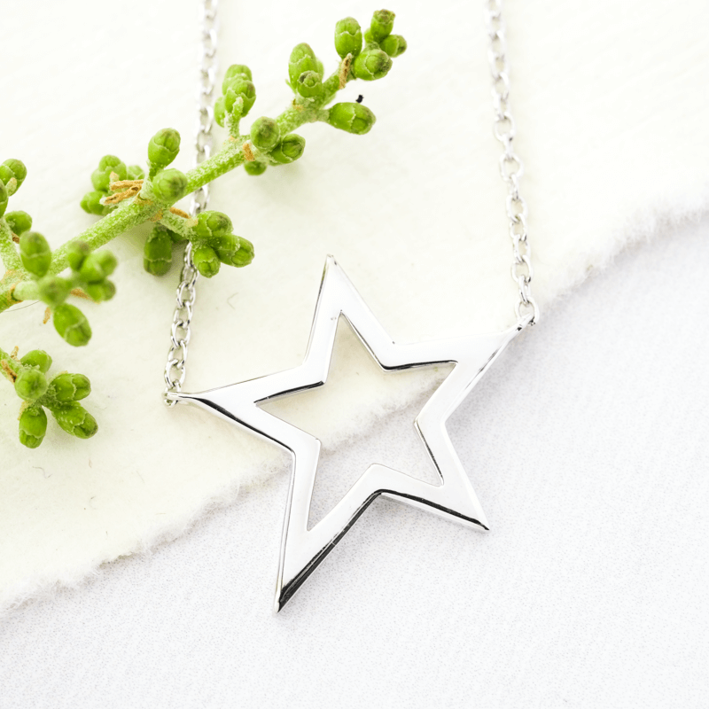 duet star pendant necklace silver