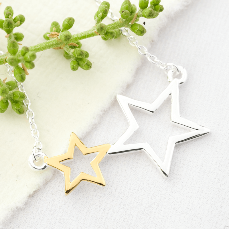 Double Star Necklace Silver & Gold