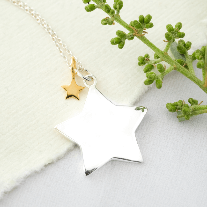 silver star necklace long chain