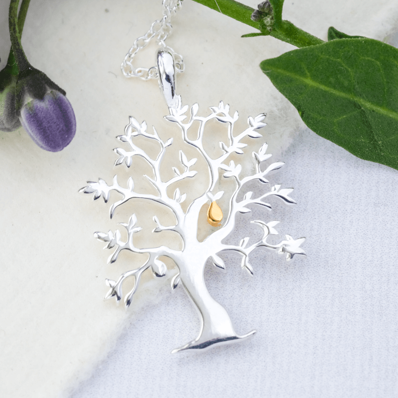 golden pear silver tree necklace