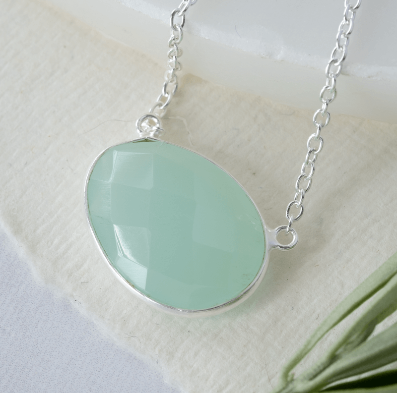 simple gemstone necklace aqua chalcedony silver