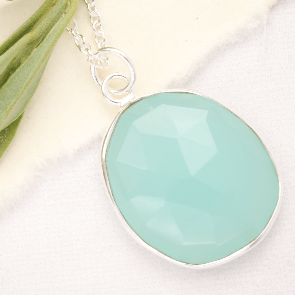 simple gemstone necklace in aqua chalcedony in silver