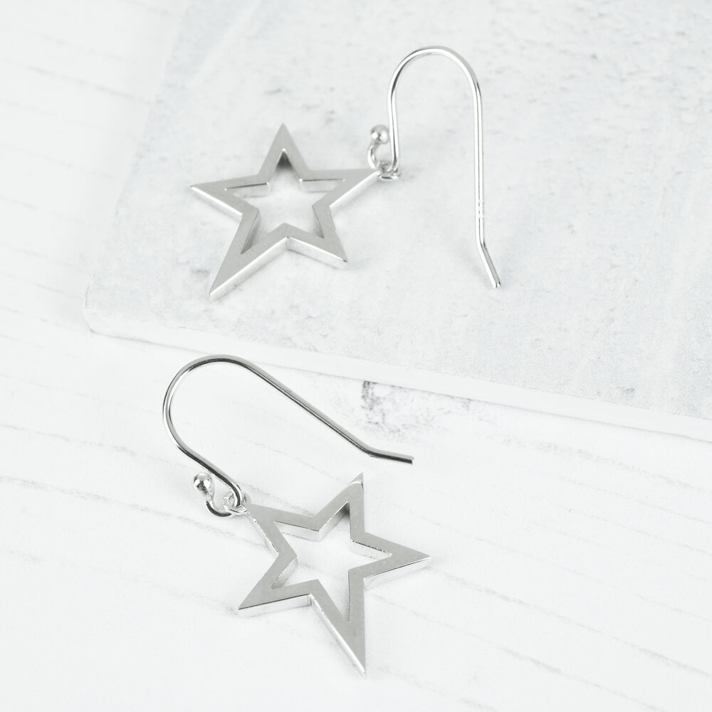 Silver Star Drop Earrings Cutout