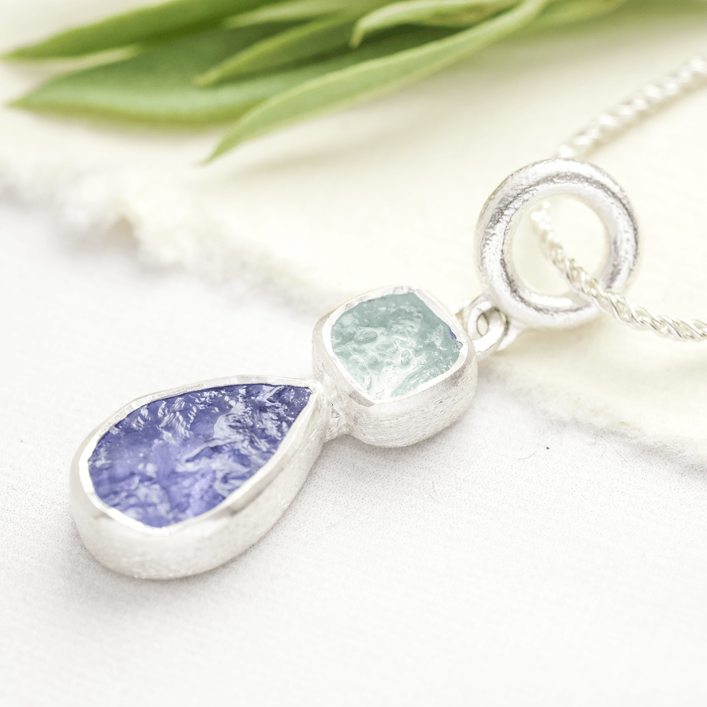 tanzanite and aquamarine drop pendant silver