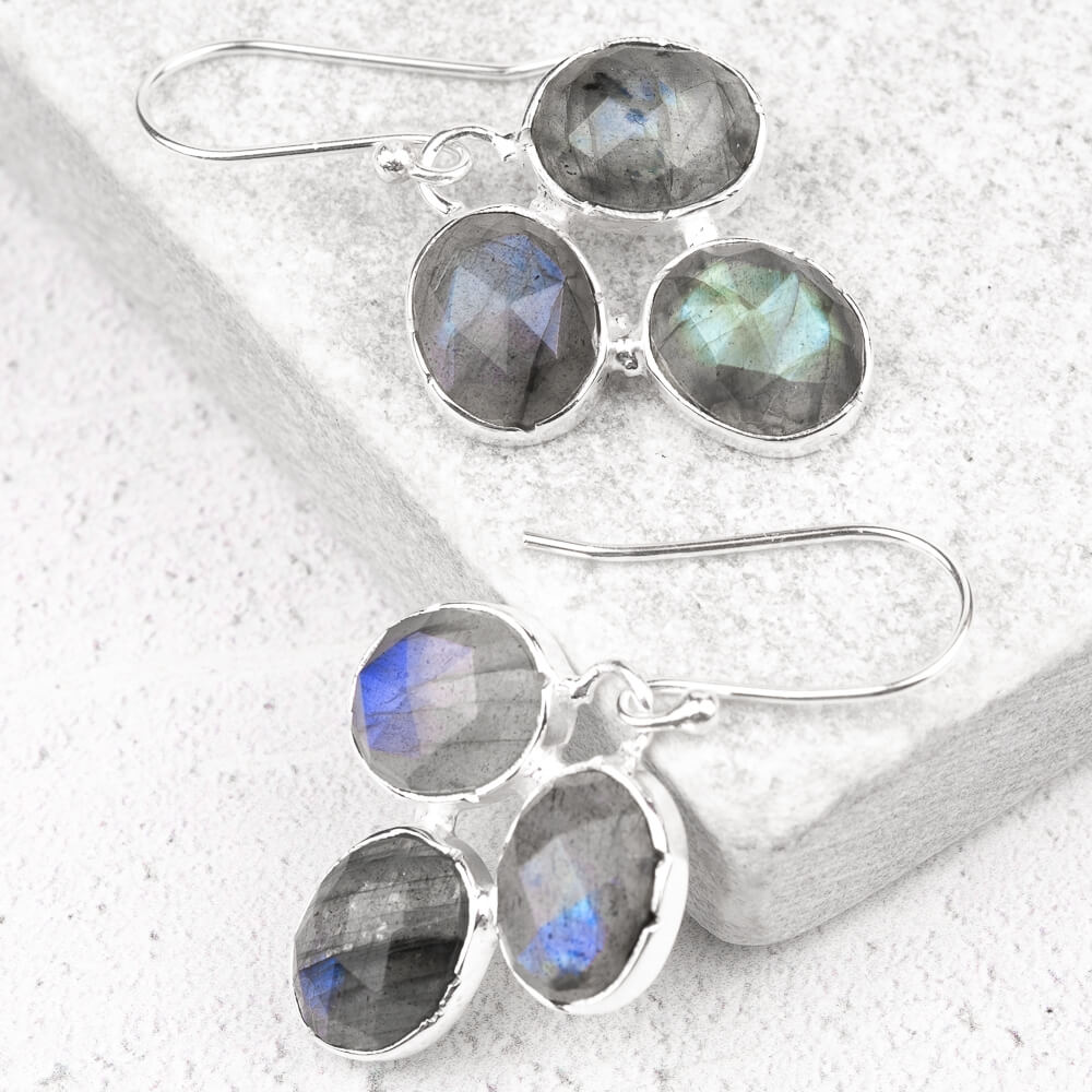 labradorite earrings in silver
