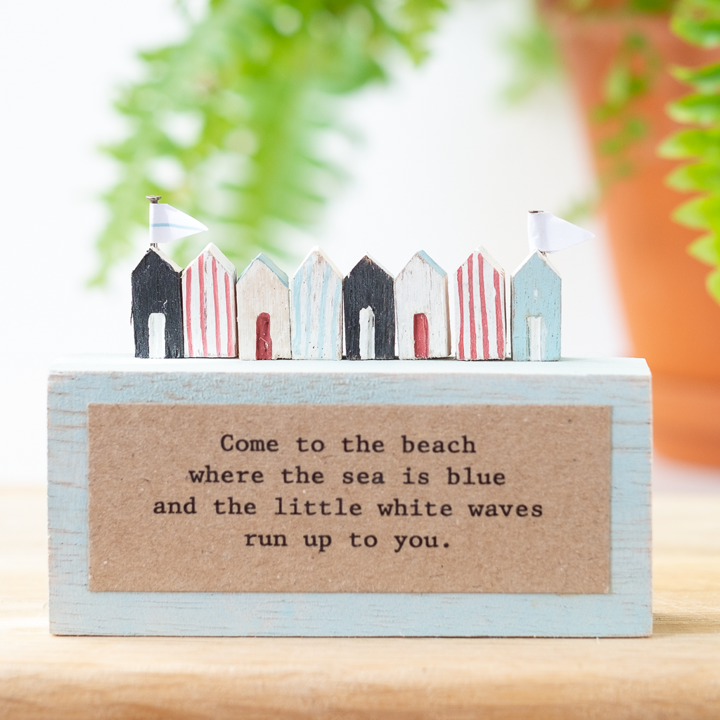 beach hut wooden plaque