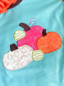 Girls Fall PUMPKIN APPLIQUE BABY GIRL ROMPER