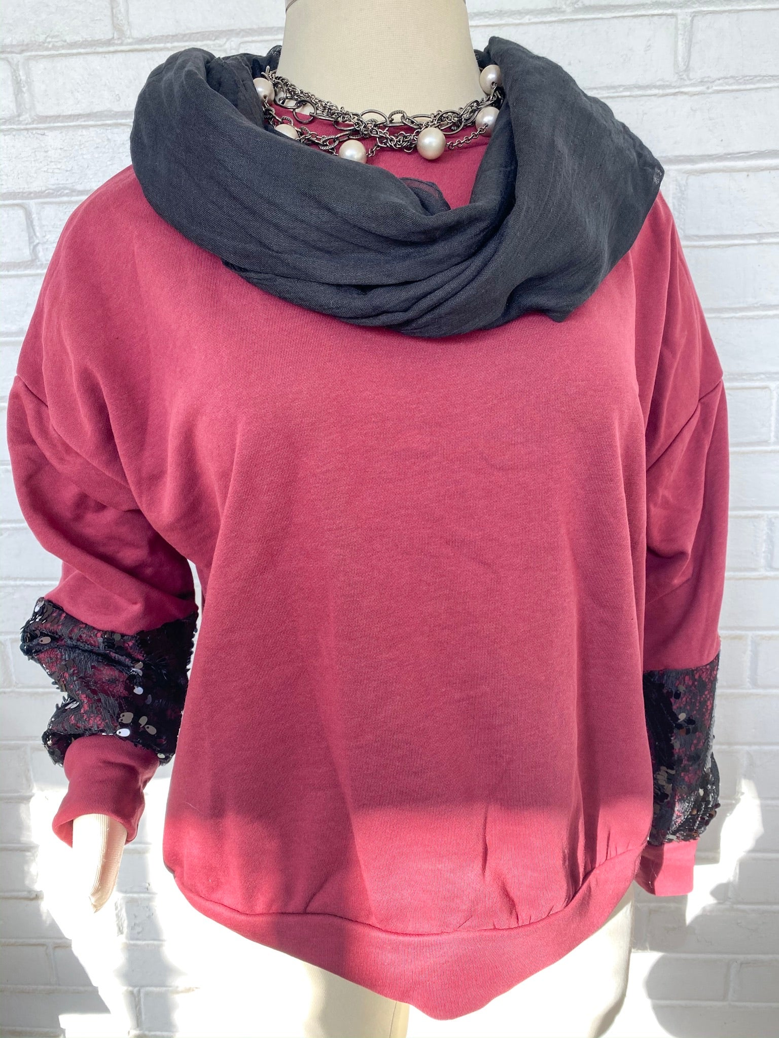 Women's Sequins & Lace Sweater | Women's Burgundy Sweater | Women's Comfy Sweater