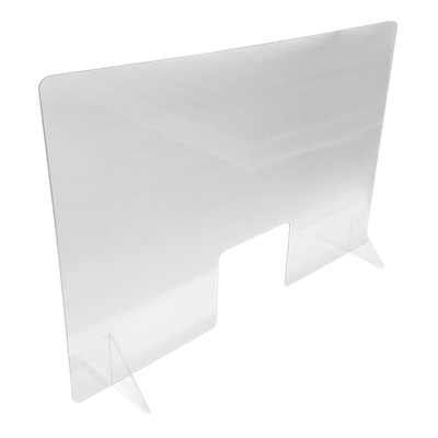"Specialty Product Hardware Ltd. 48"" x 32"" Sneeze and Cough Guard  with clear stands"