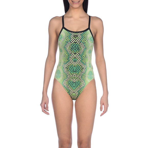 Arena Snakeskin Challenge Back One Piece (Lime)