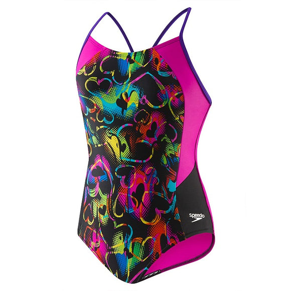 Speedo Girl's Neon Love Split Splice - Olym's Swim Shop