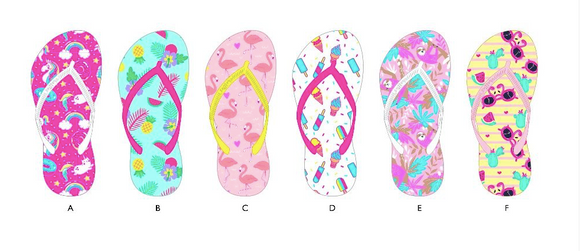 A-Girls Printed Flip Flops Tropical