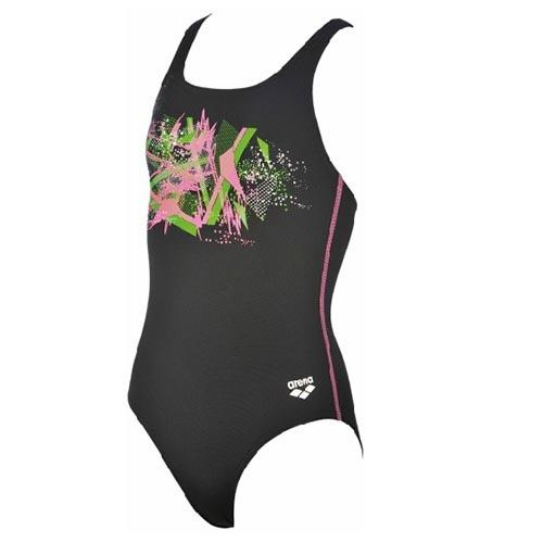 Arena Girls Cross Racerback One-Piece (black paparazzi ) - Olym's Swim Shop