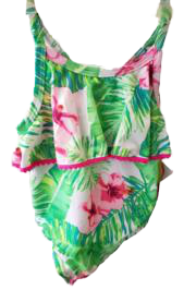 Swim-Style Girl's Small One-Piece (lime pink floral) - Olym's Swim Shop