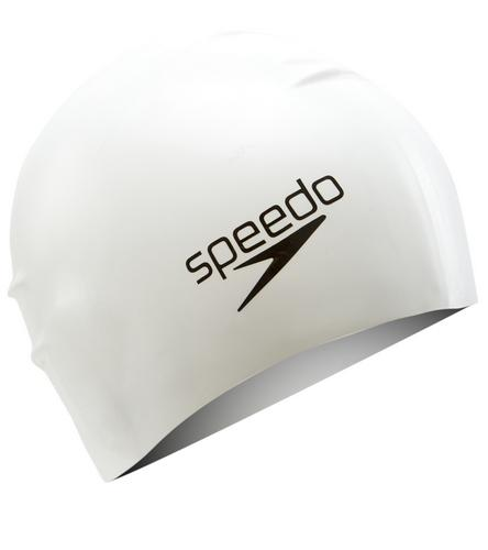 Speedo Silicone Long Hair Swim Cap (white) - Olym's Swim Shop