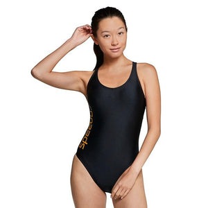 Speedo Gold Thin Strap One Piece - Black & Gold