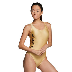 Speedo Gold Thin Strap One Piece - Gold