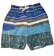 Swim-Style Boys Stripe/Water Design Shorts (blue)