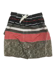 Swim-Style Boys Stripe/Water Design Shorts (red) - Olym's Swim Shop