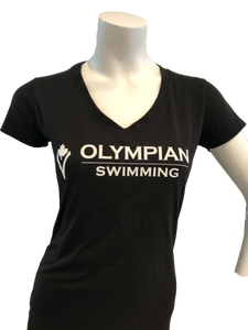 OLYMPIAN SWIMMING V-NECK T-SHIRT (ADULT) - black - Olym's Swim Shop