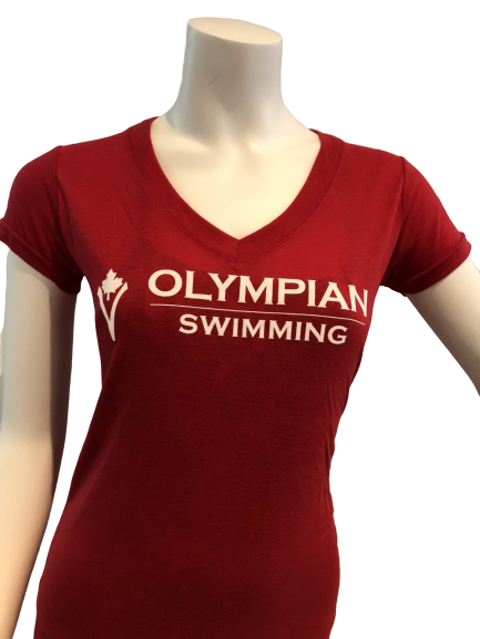 OLYMPIAN SWIMMING V-NECK T-SHIRT (ADULT) - red
