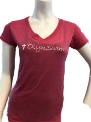 OLYMSWIM T-SHIRTS (V-NECK ADULT)- assorted colours - Olym's Swim Shop
