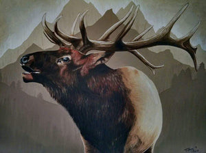 Bugling Elk in the Mountains - Original Painting
