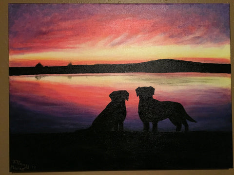 Labs at Sunset - Original Painting