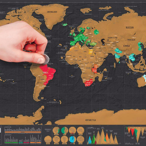 Deluxe Scratch Off World Map for Travellers