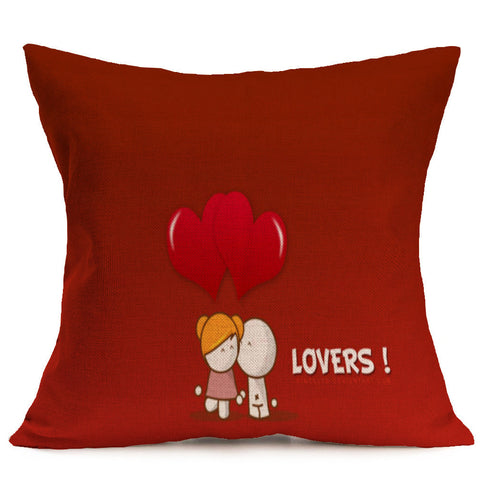 Lovers Painting Linen Cushion Cover