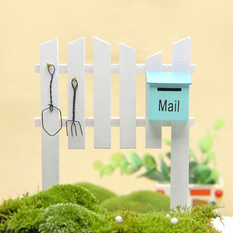 Mailbox Fence Garden Ornament