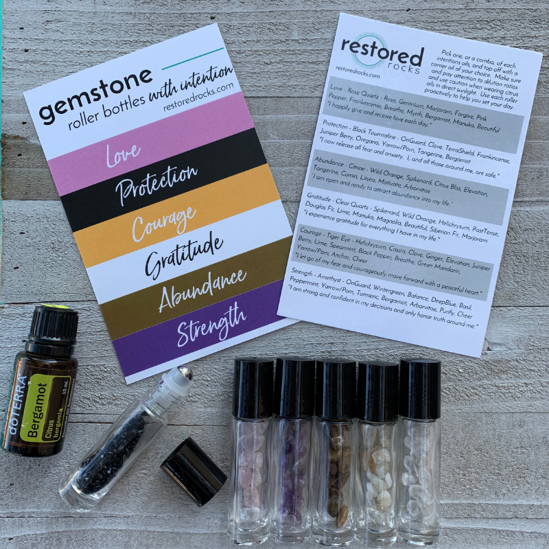 Gemstone Roller Bottle with Intention Kit