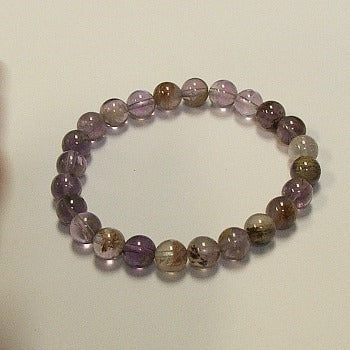 Amethyst Rutilated Gemstone Bracelet