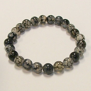 Black and White Dragon Agate Stone Bracelet