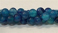 Blue Agate Natural Stone Bead  - Gloss - 8mm