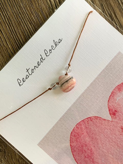 Rhodochrosite Drop Pendant Necklace (LOVE & WORTHINESS) SALE!