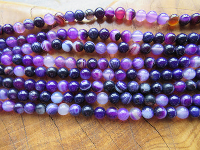 Purple Striped Agate Beads
