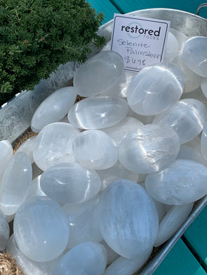 Selenite Palm Stones