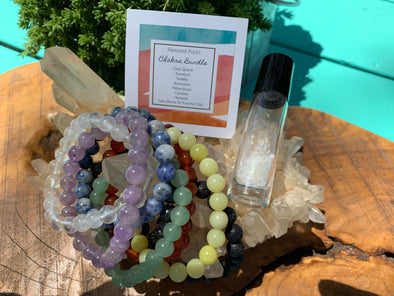 Chakra Bundle Set (Lava Bracelet and Essential Oil Crystal Roller Bonus)