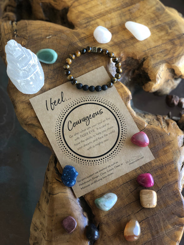 "Tiger Eye Natural Gemstone Aromatherapy Bracelet - ""I Feel..."" Courageous"