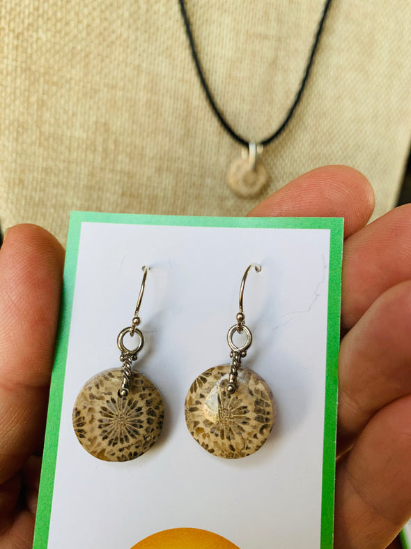Fossilized Coral Necklace and Earring Set