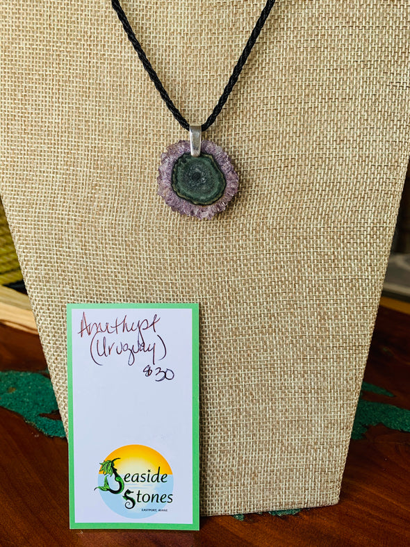 Amethyst Crystal Stalactite Pendant Necklace