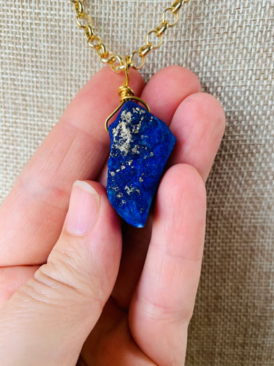 Natural Blue Lapis with Brass Pendant Necklace