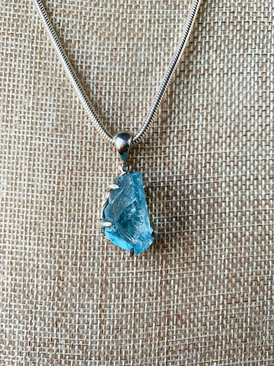 Blue Topaz in Sterling Silver Necklace