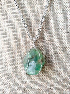 Mason County Wrapped Fluorite Pendant Necklace
