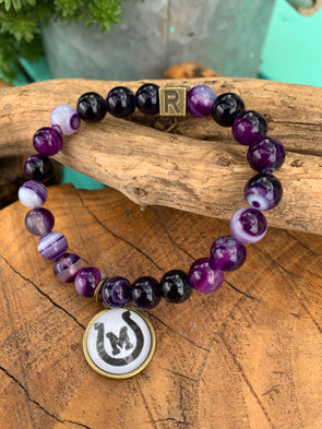 Mason Puncher Purple Agate Bracelet with Spirit Charm
