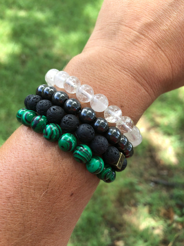 "Lava Stone Aromatherapy Bracelet - ""I feel..."" Grounded (With Essential Oil Gift)"
