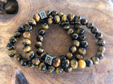 "Tiger Eye Natural Gemstone Bracelet - November Bracelet of The Month - ""I Feel..."" Courageous"