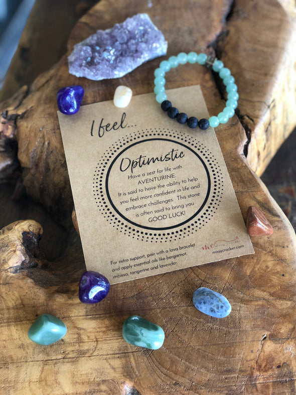 "Aventurine  Natural Gemstone Aromatherapy Bracelet - ""I feel..."" Optimistic"